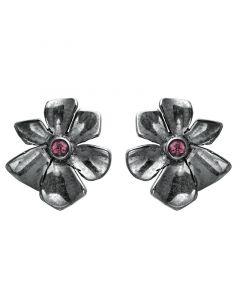 Rabinovich, Single Blossom Øreringe med Pink Turmalin, Sort Sølv