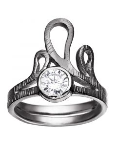 Rabinovich, Delicate Waves Ring, Sort Sølv
