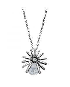 Rabinovich, Divine Spring Halskæde med Grå Quartz, Sølv/Oxyderet, 45 cm Kæde