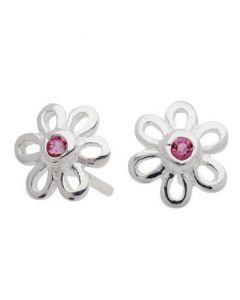 Blomster Øreringe med Pink Krystal, Sølv