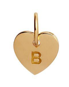 Stine A, Letter Heart B Vedhæng, Forgyldt