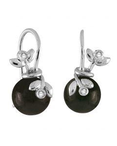 Rabinovich, Adorable Lace Ørehængere, Black Obsidian/Sølv