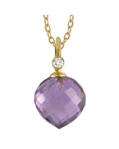 Rabinovich, Diamant & Amethyst Halskæde, 14 Karat Guld