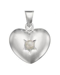 Lund, Hjerte Vedhæng med Perle, 13 mm, Sølv