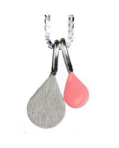Scherning, Colour Spot Teardrop Halskæde, Rose/Sølv