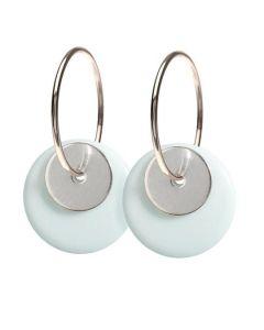 Scherning Duo Cloud Silver Øreringe i Sterling Sølv med Porcelæn