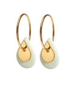 Duo Teardrop Pistachio Gold Forgyldt Sølv Øreringe fra Scherning med Porcelæn