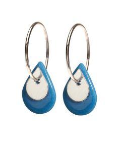 Scherning Due Teardrop Blue Silver Sterling Sølv Øreringe