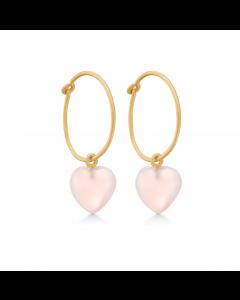 Frk Lisberg Stone Heart Rosaforgyldt Sølv Øreringe med Rosa Calcedon