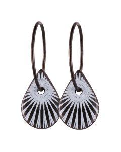 Scherning, Splash Teardrop Hoops, White/Black/Sort Sølv