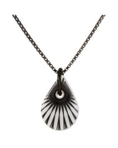 Scherning, Splash Teardrop Halskæde, Hvid/Sort/Sort Sølv, 45cm Kæde