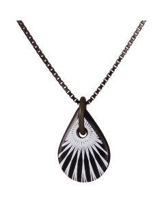 Scherning, Splash Teardrop Halskæde, White/Black/Sort Sølv, 45cm Kæde