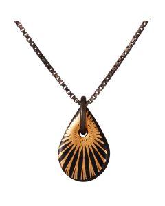 Scherning, Splash Teardrop Halskæde, Guld/Sort/Sort Sølv, 45cm Kæde