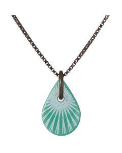 Scherning, Splash Teardrop Halskæde, Jade/Sort Sølv, 45cm Kæde