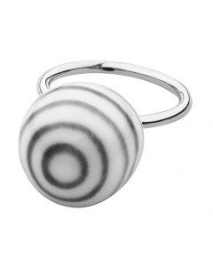 Anne Black, Large Stribes Ball Ring, Sort/Hvid/Sølv